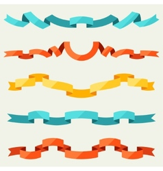 Set of ribbons for decoration in flat design style vector