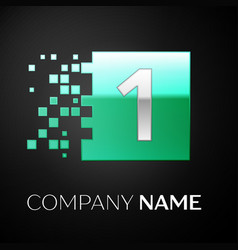 silver number one logo symbol in the green square vector image