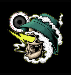Skull smoke high vector