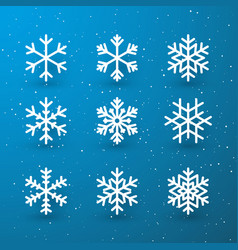 snowflake winter set white isolated icon vector image