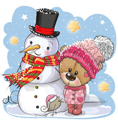 Snowman and cute teddy bear girl in a hat vector
