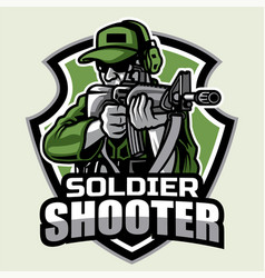 Soldier ready to shoot with riffle mascot logo bad vector