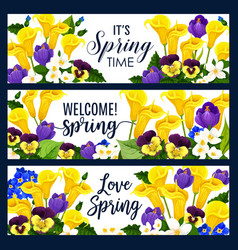 Springtime flowers greeting banners vector