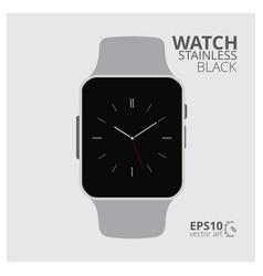 Stainless steel black digital watch vector
