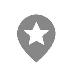 Star with location mark favorite place gray icon vector