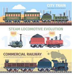 Steam locomotive industry development horizontal vector
