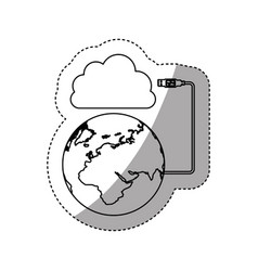 Sticker silhouette cloud storage global hosting vector