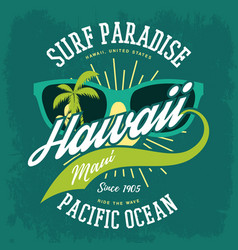 t-shirt print as hawaii banner palms sunglasses vector image