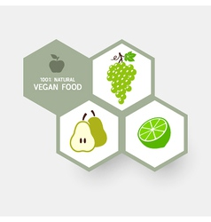Vegan concept with fruit icons vector