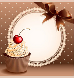 vintage background with cupcake and vector image