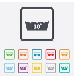 Wash icon Machine washable at 30 degrees symbol vector image