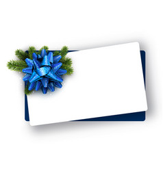 white christmas card with blue bow vector image