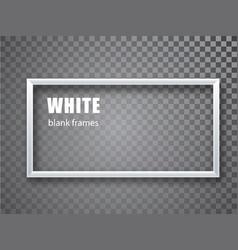White rectangular frame blank banner template vector