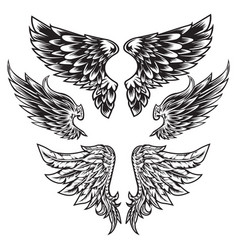 Wings bird feather black white tattoo set 9 vector
