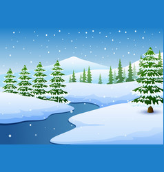 winter landscape with frozen lake and fir trees vector image