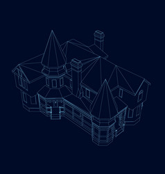 wireframe of the building of the blue lines on a vector image