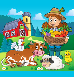 Woman farmer with harvest and animals vector