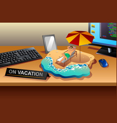 working and vacation concept vector image