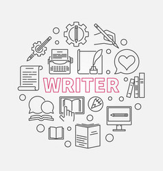 writer round made with line vector image