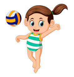 Young woman playing volleyball on beach vector
