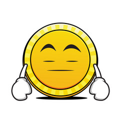 bored face coin cartoon character vector image vector image