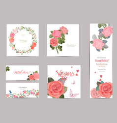 collection of greeting cards with blossom roses vector image vector image