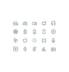 Multimedia icons line vector image