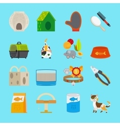 Pet cat toys and food icons vector image