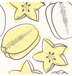Stylized carambola seamless pattern vector image vector image