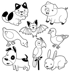 Cute animals black and white set vector image vector image