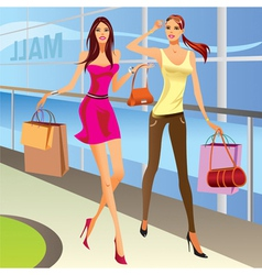 Fashion shopping girls with bags vector image