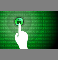 green technology background touch unlock button vector image