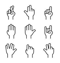Hands Icons Set on White Background vector image vector image