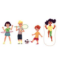 kids twirling hula hoop playing badminton soccer vector image