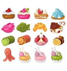 Desserts and sweets decorative icons set vector image vector image