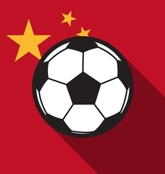 football icon with China flag vector image vector image