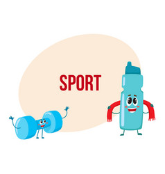 funny dumbbell and protein shaker characters with vector image
