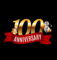 golden 100 years anniversary template with red vector image