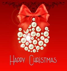 Happy Christmas lettering with pearls and bow vector image vector image
