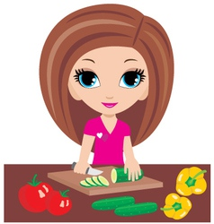 kitchen cuts vegetables vector image vector image