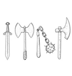 old set of weapons hand drawn sketch vector image vector image