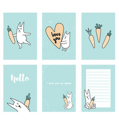 rabbit cards vector image vector image