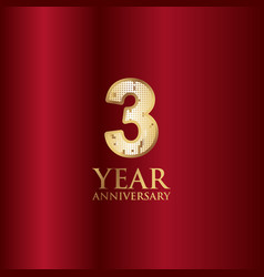 3 year anniversary gold with red background vector