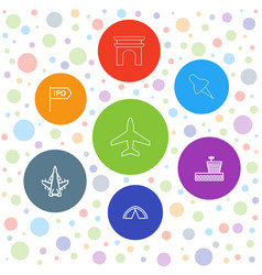 7 travel icons vector image
