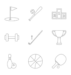 Accessories for training icons set outline style vector image