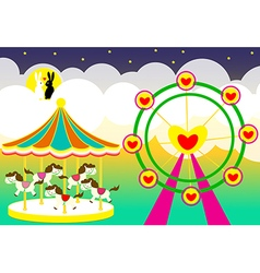 Amusement park wedding backdrop vector