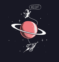 Astronaut and saturn vector