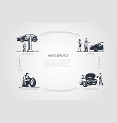 auto service - ordering scanning car disassembly vector image