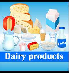 background set dairy products with cheese vector image