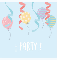 balloons ribbon falling celebration party vector image